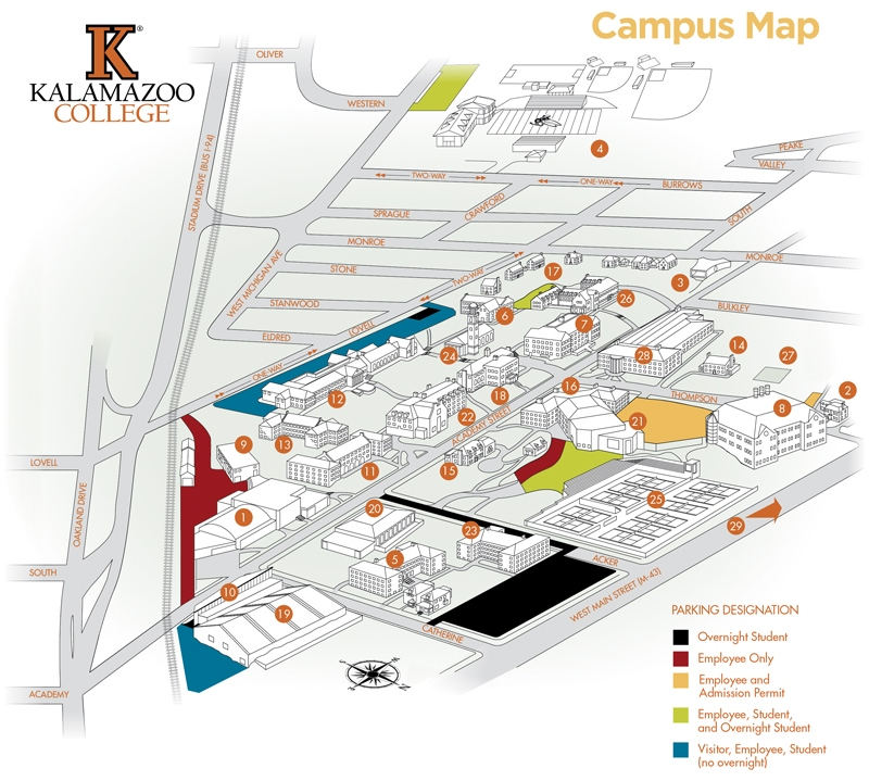 Campus Map for Kalamazoo College - About Kalamazoo College