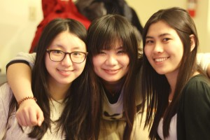 Three international students at Kalamazoo College