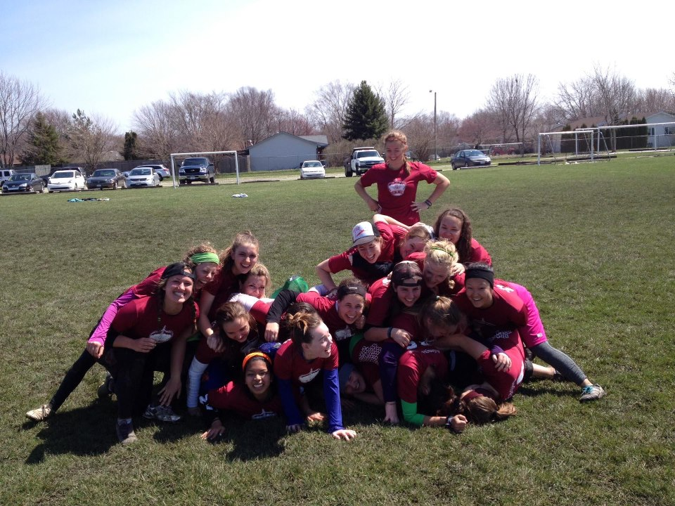 Team dogpile at the end of Sectionals