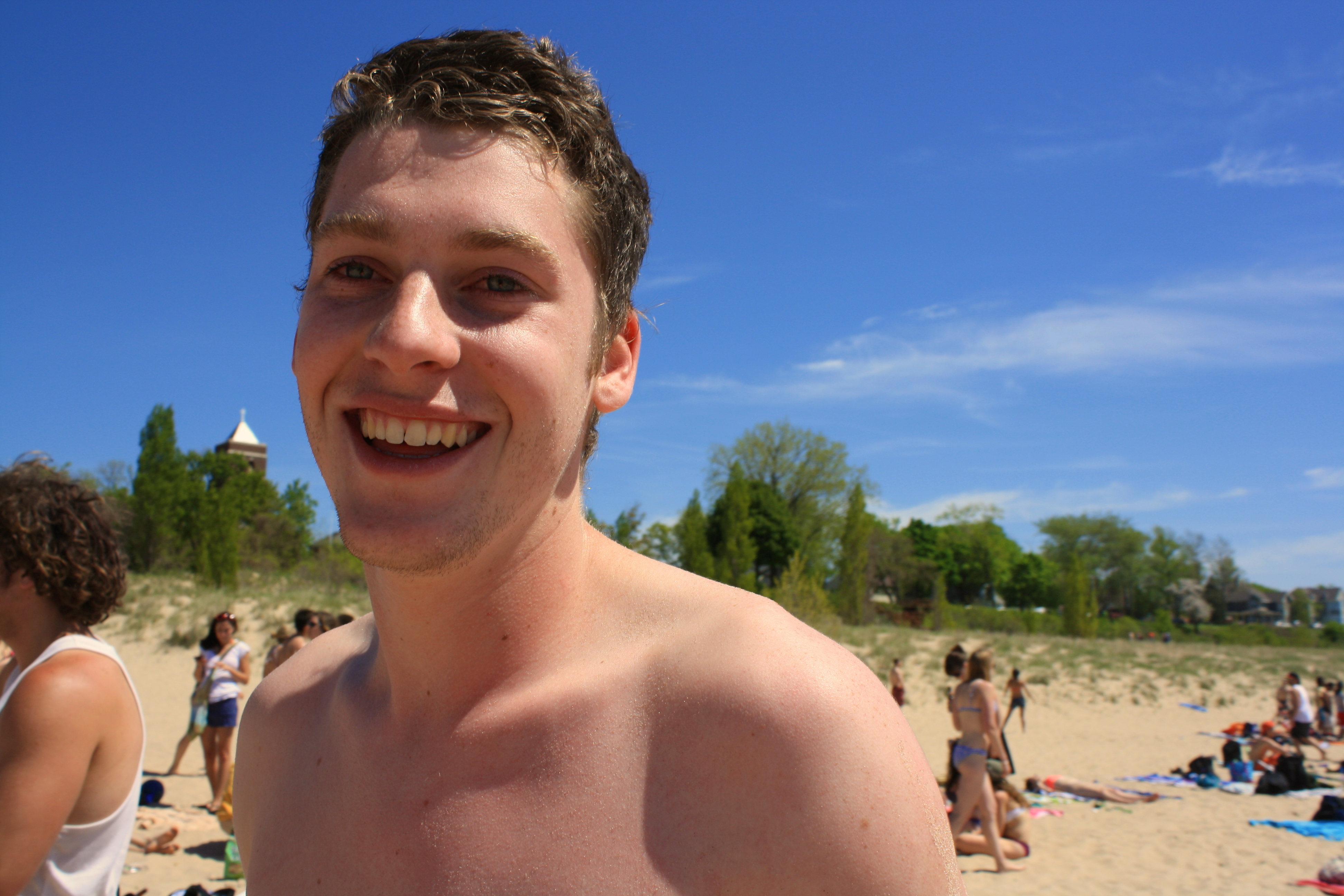 Student smiling at South Haven Beach