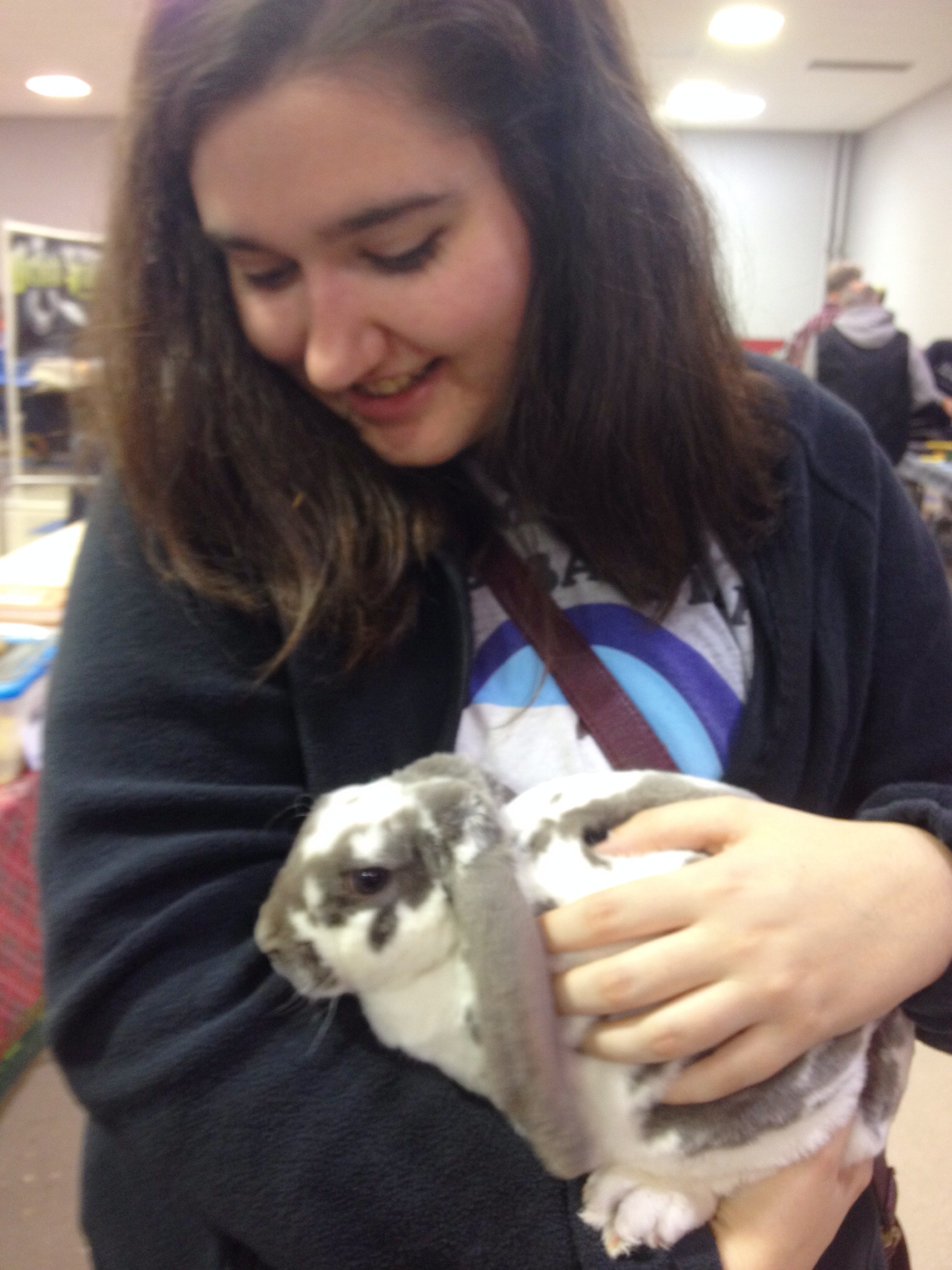 Holding a bunny at the KREAE