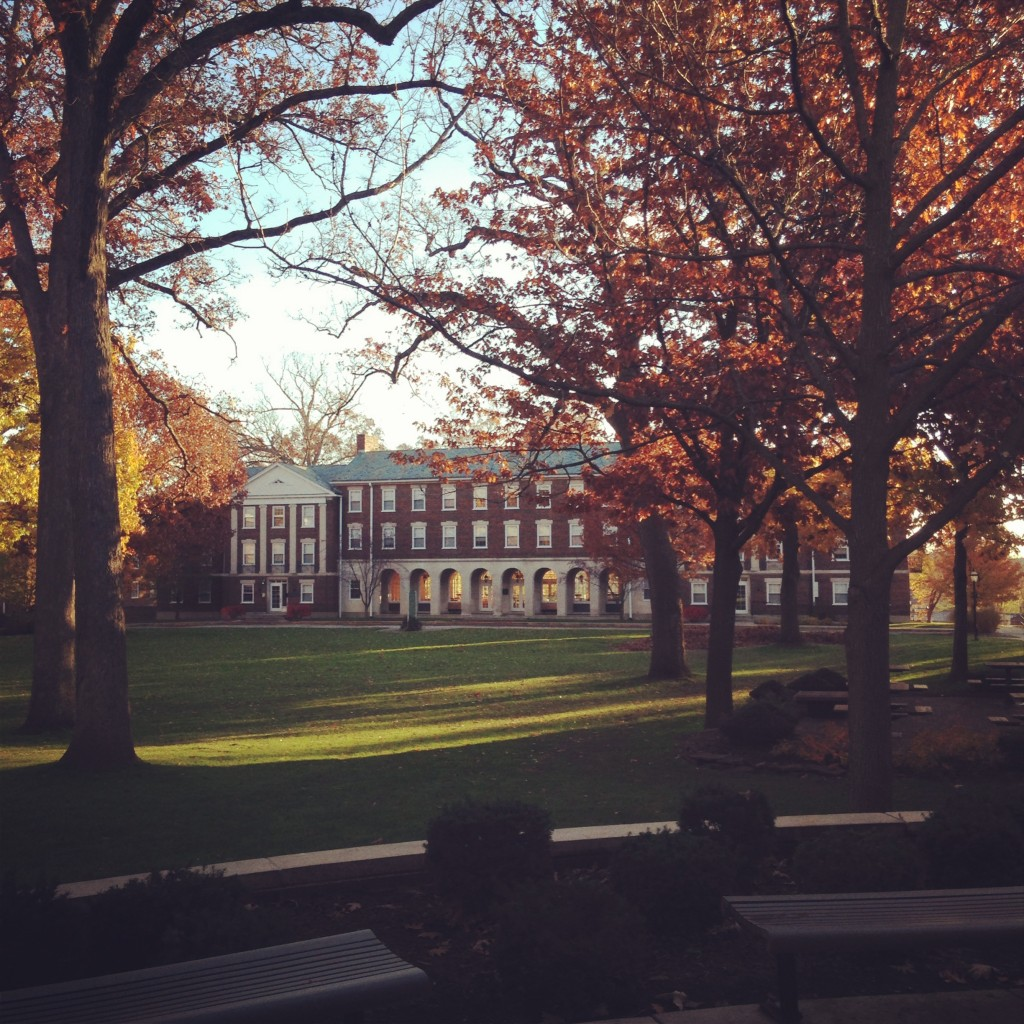 The empty quad in the fall with the leaves changing on the trees