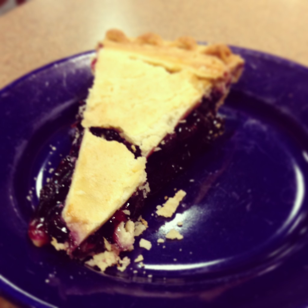 A slice of blueberry pie