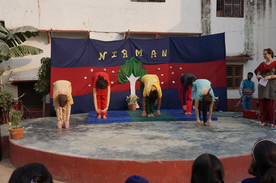 The five performers bow on stage after their performance