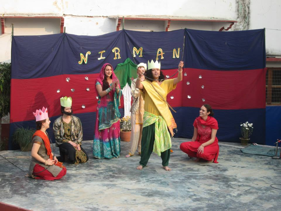 Five women performing a scene of Ramayana