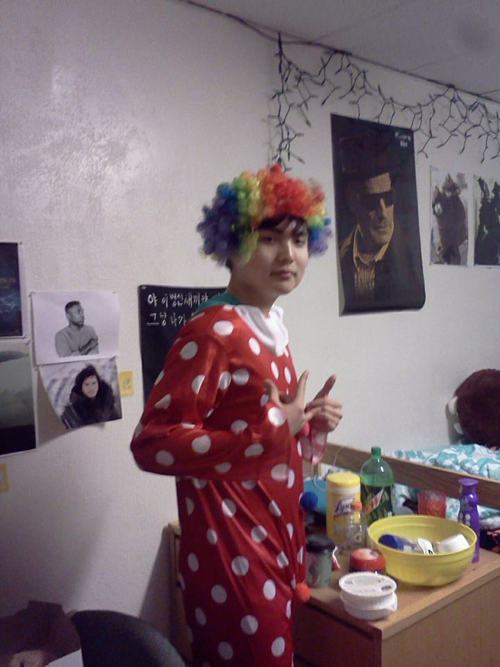 Student dressed as a clown