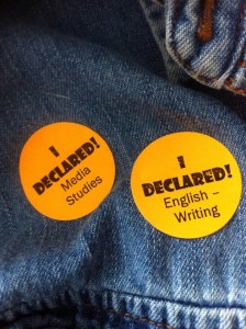 Stickers displaying students' majors