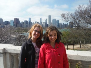 Alexandra Smith and a friend visiting Chicago