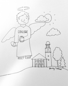 A drawing of an angel drinking and smoking with a broken halo near Stetson Chapel