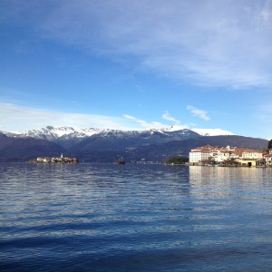 Lake Maggiore with mountains in the background