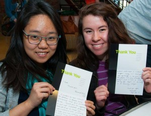 Students write thank you notes to donors on Tuition Freedom Day 2014.
