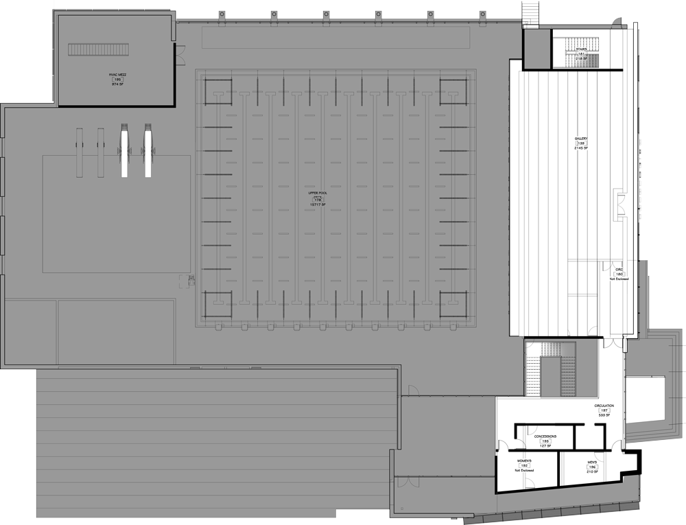 Conceptual floor plan drawing of second floor.