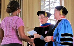 Student receiving award at Honors Day