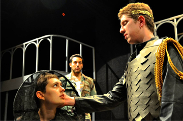 "Stefano Cagnato, Rudi Goddard and Manuel Garcia rehearse for ""Titus Andronicus"""