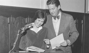 Former K President George Rainsford and Rhodes Scholar recipient Becky Gray in 1981
