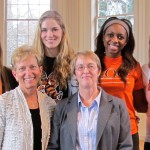 """Why We Play"" 2013 speakers, left-to-right (top), Erran Briggs '14, Allison Liddane '13, Alex Gothard '15, Johanna Kupe '13, Allison Thomas '13, Brad Merrit '13, (bottom) Jeanne Hess, Rebecca Gray '81."