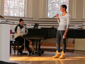 "Willina Cain sings ""Wake Up Everybody"" while Corrine Taborn accompanies"