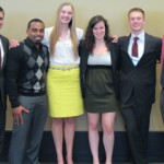 Six students presented research work at the annual ASBMB meeting. From left: Josh Abbott, Erran Briggs, Amanda Bolles, Mara Livezey, Michael Hicks, and Nic Sweda. Hicks is a biology major; the other five are majoring in chemistry.