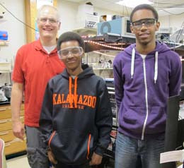 Bartz chemistry lab members Jeffrey Bartz, Myles Truss and Braeden Rodriguez.