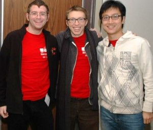 Seniors Kyle Sunden, Lucas Kushner and Fayang Pan at the ACM competition