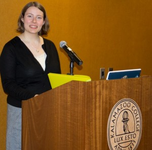Jewish Student Organization President Claire De Witt at a podium