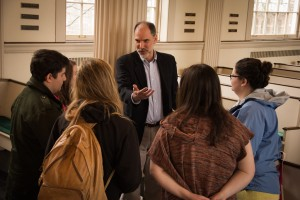 Associate Professor of Religion and History Jeffrey Haus talks with students at Stetson Chapel