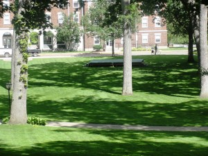 Commencement stage base sits at the bottom of the Kalamazoo College quad