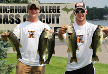 Tucker Rigney with a teammate at a bass fishing competition