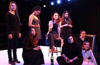 "Eight students rehearse for ""Nine Parts of Desire"""