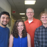 Professor of Chemistry and Kurt D. Kaufman Chair Jeff Bartz with some of his students.