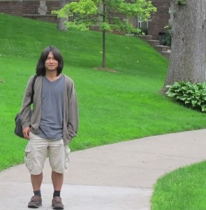 Ken Tsuchiya on the Quad at Kalamazoo College