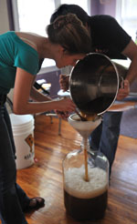 Eeva and Trace during homebrewing student days
