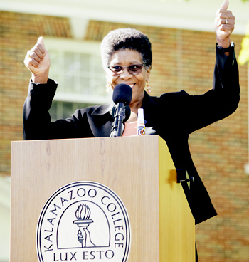 President Eileen B. Wilson-Oyelaran gives two thumbs up