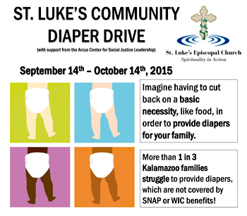 Advertisement for 2015 St. Luke's Community Diaper Drive