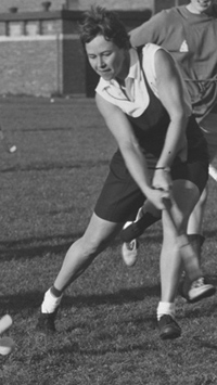 Letitia (Tish) Loveless participates in a field hockey practice