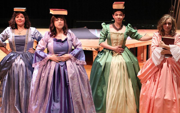 The cast of the Festival Playhouse production of Molière's LEARNED LADIES includes Belinda McCauley '16 (Bélise), Kellie Dugan '17 (Armande), Madison Donoho '17 (Philaminte), and Kate Kreiss '19 (Henriette).