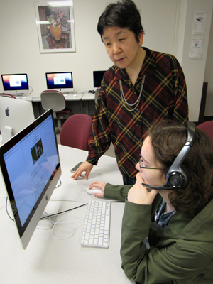 Oral History Researchers Noriko Sugimori (left) and senior Christa Scheck
