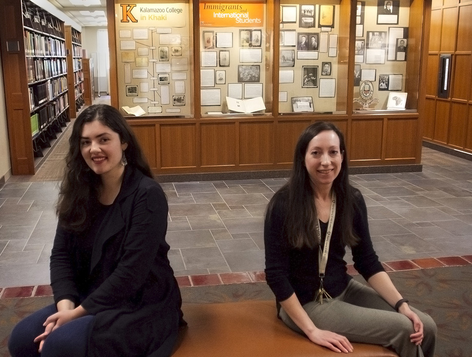 Archivists Shelby Long and Lisa Murphy