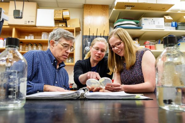 National Science Foundation Fellowship Winner Megan Hoinville works with professors