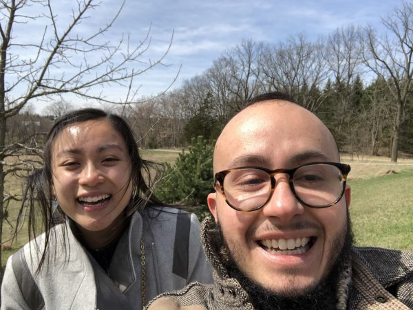 Paige Chung and Oliver Baez Bendorf at Pierce Cedar Creek Institute Nature Center
