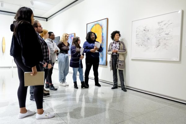 Students Observe Julie Mehretu's Artwork with fari nzinga