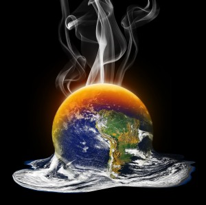 Animated image of planet Earth melting on the bottom and burning on top