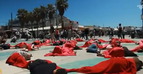 Demonstration at Venice Beach for Anti-Abortion
