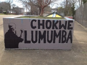 """""""Chokwe Lumumba"""" painted in a public space"""