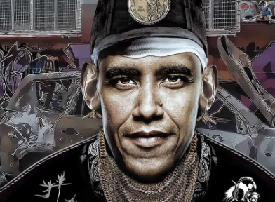 Collage image with Barack Obama's face