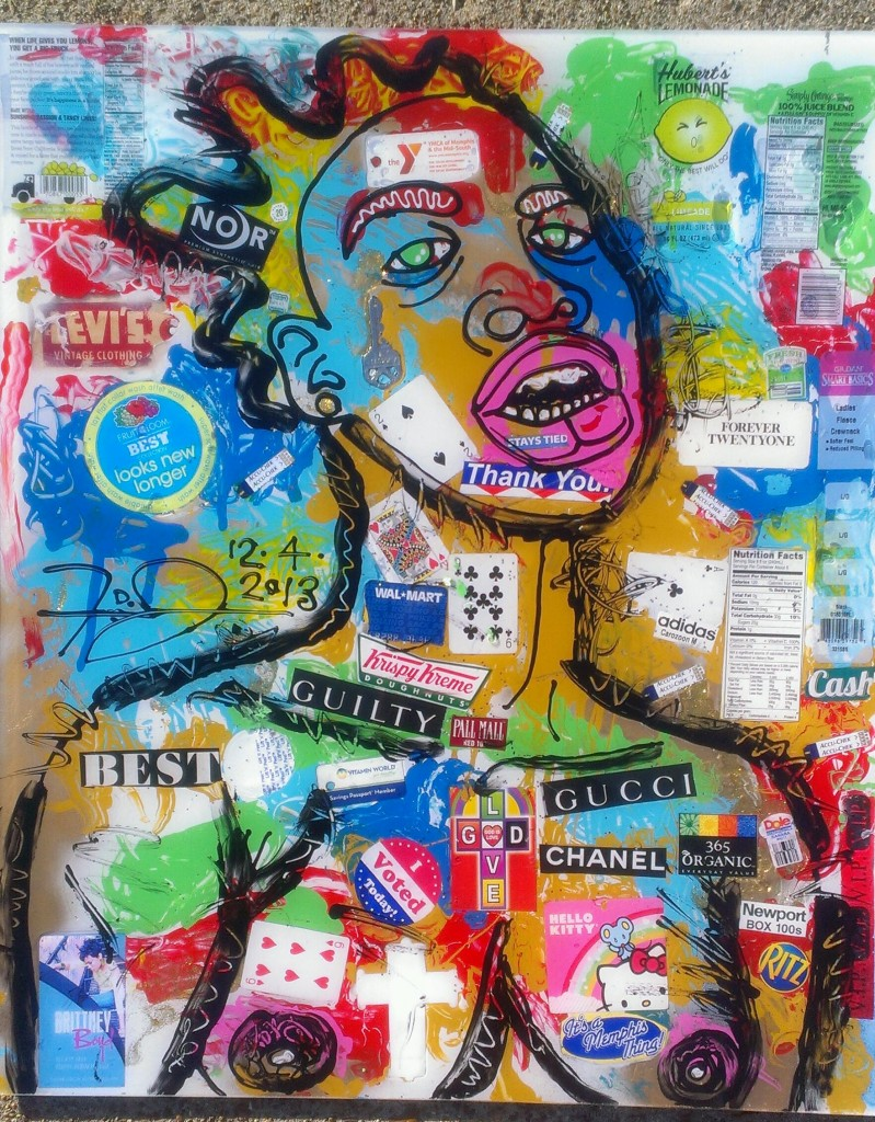 Mixed media trash collage with black outline of a figure