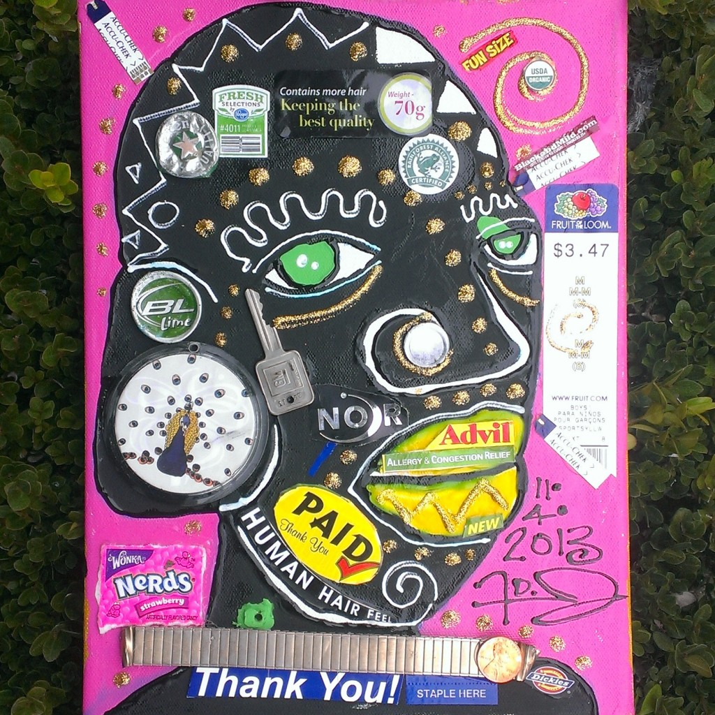 Mixed media trash collage of face