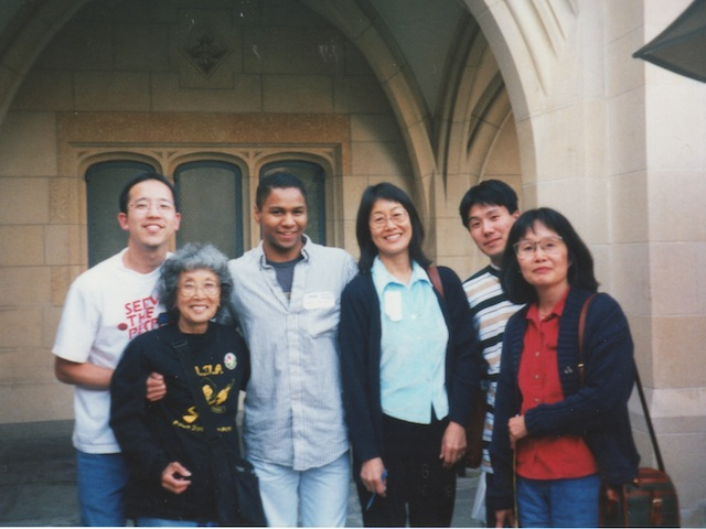Yuri Kochiyama at Serve the People Conference with other participants in 1998