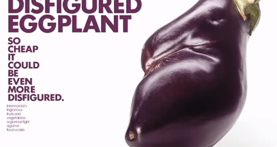 """an eggplant with text reading, """"The Disfigured eggplant so cheap it could be even more disfigured."""""""