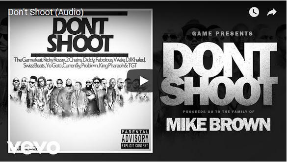 """video screen shot of text that reads, """"Don't Shoot Mike Brown"""""""